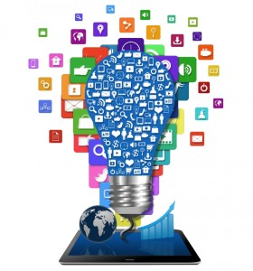 Social media on light bulb with colorful application icon